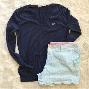 Vineyard Vines Navy Blue Heathered Vneck Sweater